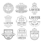 Law Firm And Lawyer Office Logo Templates With Classic Ionic Pillars, Pediments Piirros