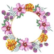 Wildflower marigold, hibiscus, gomphrena wreath in a watercolor style isolated Stock Illustration