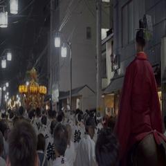 Japanese monk parading on horse during matsuri Stock Footage