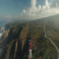 Aerial View of Lighthouse at Cape Roca, Portugal Stock Footage