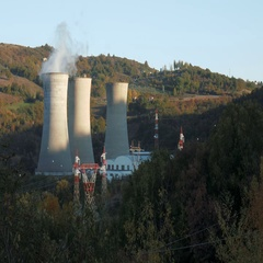 Cooling towers of a geothermal power plant Stock Footage