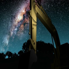 Yellow excavator and Milky Way stars at night Stock Footage
