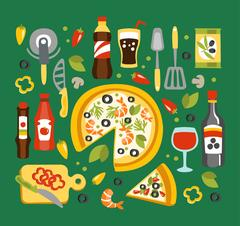 Pizza Preparation And Eating Elements, Italian Cuisine Dish With Associated Stock Illustration