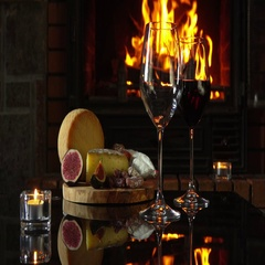 Serving table next to the fireplace Stock Footage