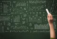 A hand drawing lines, pie charts, graphs on a green blackboard with a chalk Stock Photos