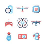 Drones - flat design icons set Piirros