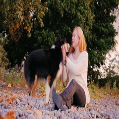 Young woman caresses her dog. Sitting on a beach of pebbles, stroking her Stock Footage