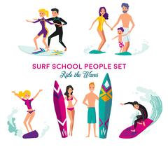Surf School Decorative Elements Set Piirros