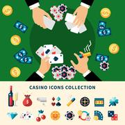 Casino Icons Collection Flat Composition Piirros