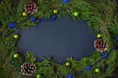 Border, frame from christmas tree branches with pine cones and blue berries Stock Photos