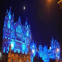 4k footage of illumination in Blue on CST (Victoria Terminus), Mumbai. Stock Footage