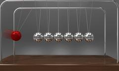 Balancing ball Newton's cradle pendulum with motion blur over dark background Stock Illustration