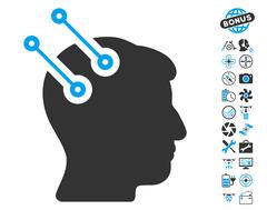 Neural Interface Connectors Icon with Bonus Stock Illustration