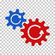 Blue and Red Cogs Rotation Interface Toolbar Icon Stock Illustration
