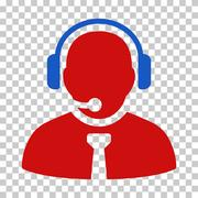 Blue and Red Support Manager Interface Icon Stock Illustration