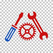 Blue and Red Tuning Service Toolbar Icon Stock Illustration