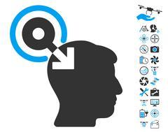 Brain Interface Plug-In Pictograph with Bonus Stock Illustration
