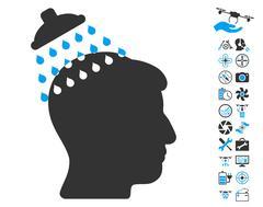 Head Shower Pictograph with Bonus Stock Illustration
