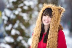 Female portrait outdoors in wintertime Stock Photos