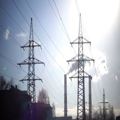 Industrial landscape. power line and smoke from pipes of combined heat and power Stock Footage