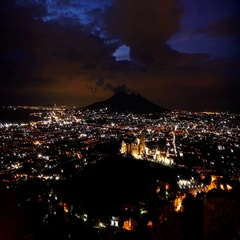 Time lapse over Pompei valley, gulf of Naples and Mount Vesuvius at night Stock Footage