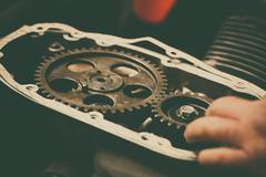 Engine timing sprockets Stock Photos