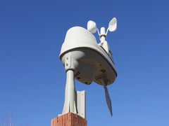 Home weather station wind speed and direction DCI 4K Stock Footage