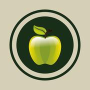 Delicious green apple Stock Illustration