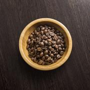 Coffee attributes on a wooden background Stock Photos