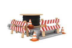 Rendering of traffic cones, fences and cable coil isolated on white background Stock Illustration