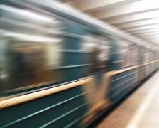Diagonal motion blur metro train background Stock Photos