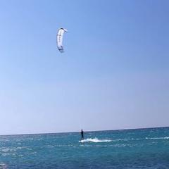 Young man kitesurfeing in Fuerteventura island Stock Footage