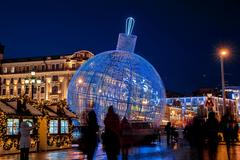 Luminous ball on Manezh Square in Moscow, Russia. City christmas decoration Stock Photos