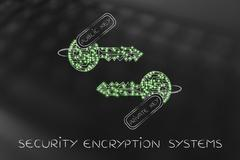 Public and private encryption or cryptography keys with led lights Stock Illustration