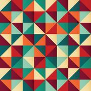 Geometric seamless pattern with colorful triangles in retro design Piirros