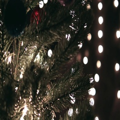 Decorating Christmas Tree With Ball Stock Footage