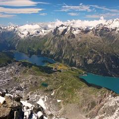 Silsersee from Corvatsch mountain near Sankt Moritz, Switzerland, Europe. Stock Footage