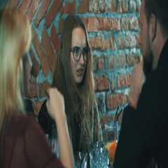 Young woman friends at bar 4k video. People spend time at cafe, funny girl Stock Footage