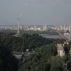 View of the left bank of Kiev Stock Footage