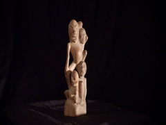 Rotating indonesian figurine art, wood carving figurine Stock Footage