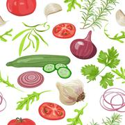 Seamless pattern herbs and vegetables. Tomato, cucumber, onion, garlic, parsley  Stock Illustration