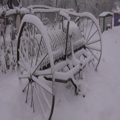 Antique horse rake with wheels in winter Stock Footage