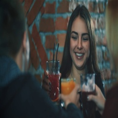 Woman with friends do toast cheers at party bar HD slow motion video. Arkistovideo