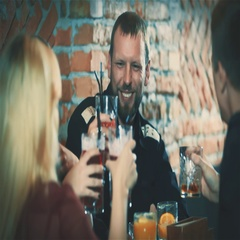 Man with friends doing toast cheers cocktails at party bar HD slow motion video Arkistovideo
