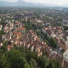 Aerial view of Ljubljana, capital of Slovenia, red roofs of old European city Stock Footage