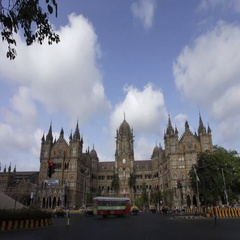 Time lapse shot of (V.T.) CST Station building in evening, Mumbai,India. Stock Footage