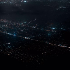 8K LA Night Cityscape Aerial 09 Clouds Time Lapse Stock Footage