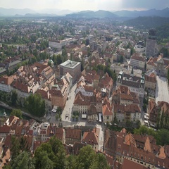 Red roofs of ancient European city, historical sightseeing tour, aerial panorama Stock Footage
