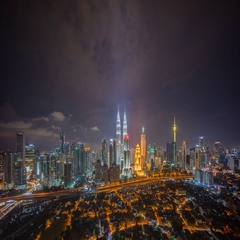 Nightscape cloudy time lapse of Kuala Lumpur city skyline. Stock Footage