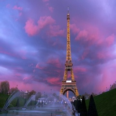 The Eiffel tower on a sunset with spectacular sky Stock Footage